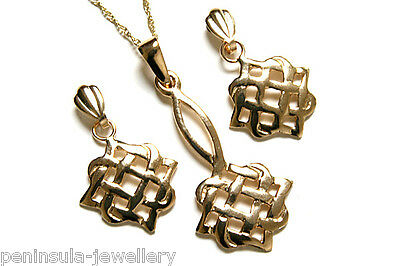 9ct Gold Celtic Weave Pendant and Earring Set Gift Boxed Made in UK