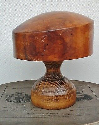Unusual Vintage Wooden Hat Block/Form with Stand, Millinery Display.