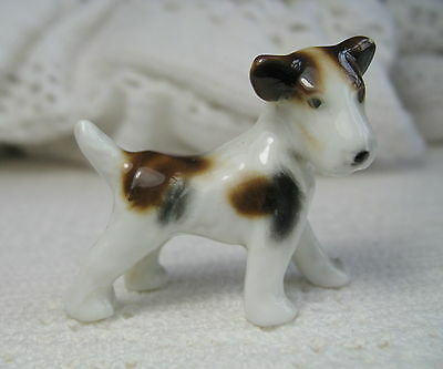 """Vintage Porcelain WIRE HAIRED FOX TERRIER PUPPY ~ Standing ~ 1.5"""" Tall ~ Germany"""