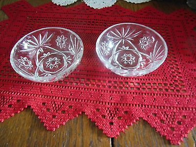 Two Rare Early American Prescut 4 1/4 Inch Smooth Rim Bowls