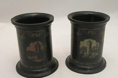 A Fine 19th Century Pair of Black Papier Mache Pen Pots - Desk Top - Victorian