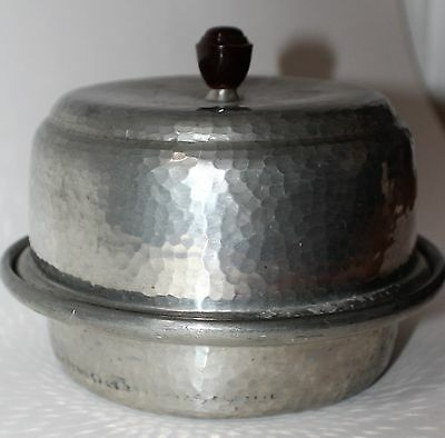 Vintage Pewter Hand-hammered Lidded Dish - Cloche/Butter w/ Wooden Handle
