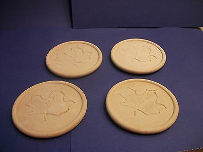 Drink Coasters - Round - Maple Leaf  Design - Lot of 4