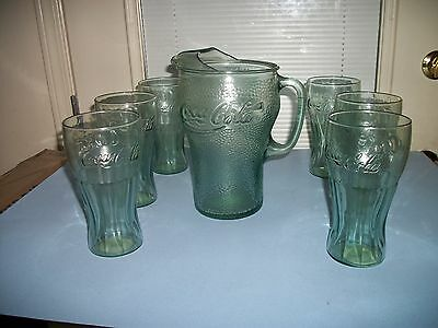 Coca Cola Green Pebble Finish Pitcher and  6 Green Tumblers - Indiana Glass