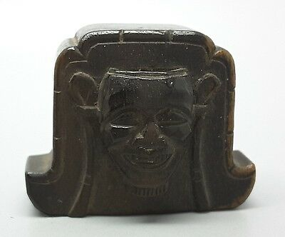 Noh mask on a tsuitate screen edo period wooden netsuke, signed Shoko