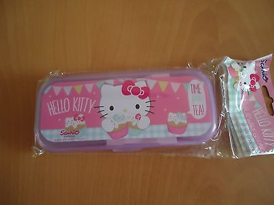 pink   hello kitty reusable  Cutlery Set with travel case new 0 707226 744410