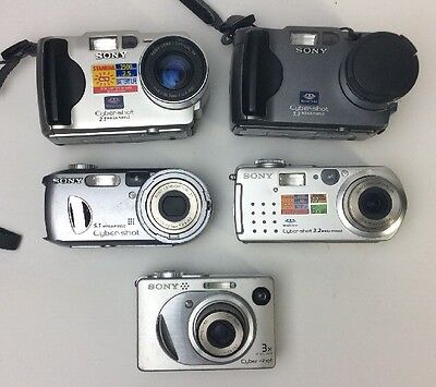 Lot Of 5 - Sony Cybershot Cameras For Parts Or Repair