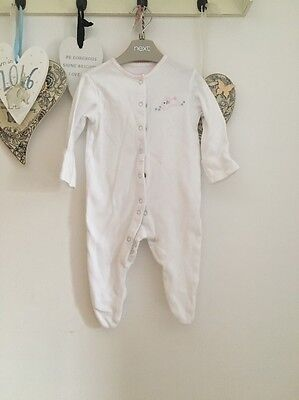 Baby Girls White Baby Grow From John Lewis Age 0-3 Months Pink Bunny