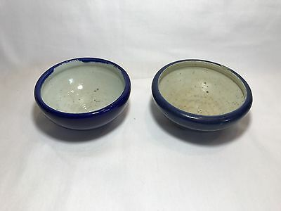 Pair Of Small Chinese 18th Century Blue Monochrome Glazed Bowls
