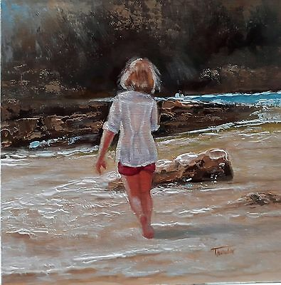 'By the rocks' Original oil painting by Tanya Holder / Seascape / Children