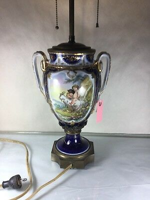 Antique Cobalt  Blue Old Paris French Porcelain Lamp w Hand Painted Flowers