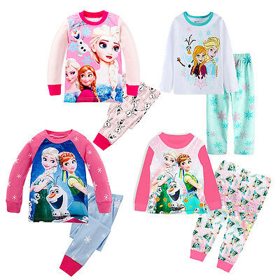 Pyjamas Girls Long Sleeve Disney Frozen  Set 1-8 years Anna Elsa UK STOCK !!