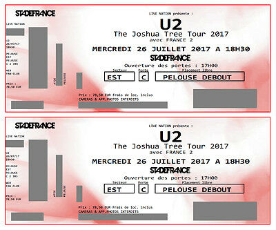 2x U2 Paris JOSHUA TREE  26.7. Tickets Billets Innenraum Pelouse STADE DE FRANCE