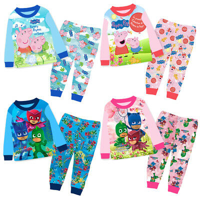 PEPPA PIG PJ MASKS Pyjamas TROLLS Boys Girls Long Sleeve Set 1-8 years nightwear