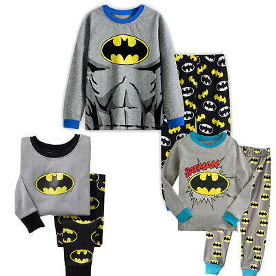 Batman Pyjamas Boys Long Sleeve  Set 1-8 years Super Hero UK STOCK !!