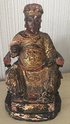 Asian ANTIQUE Chinese WOOD CARVING GOLD GILT BUDDHA STATUE Old Art Figure 9.5""