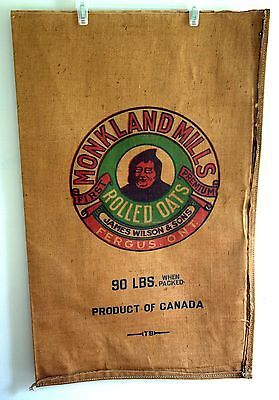 Vintage MONKLAND MILLS 90 LBS ROLLED OATS Sack, James Wilson & Sons, Fergus ON