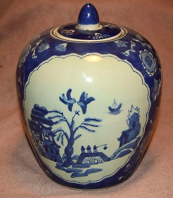 Chinese Lidded Ginger jar with blue and white decoration and character mark