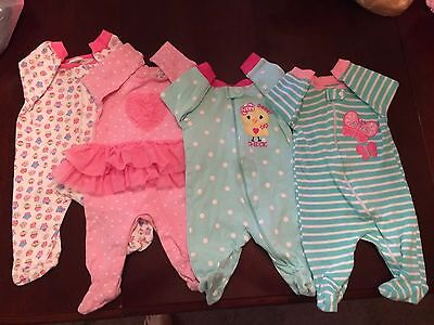 Girl Newborn 0-3 Months Infant sleepers Lot pink blue baby slightly used
