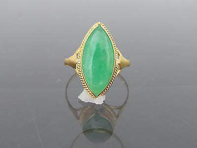 Vintage 18K Solid YG Natural Apple Green Jadeite Jade Marquise Ring Size 7.75