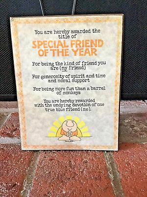 Vintage Ziggy Special Friend Of The Year Plaque American Greetings 1982
