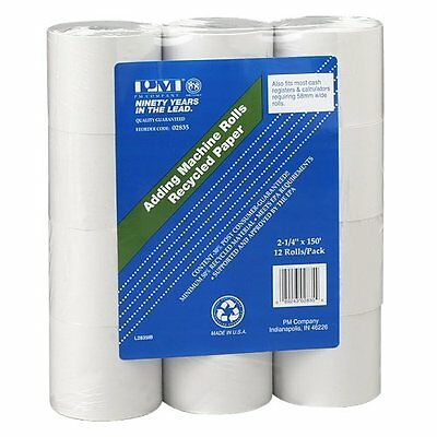 Calculator Printing Paper Rolls 12 Roll Pack 2.25 Inches x 150 Feet White Print
