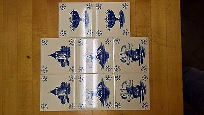"Set 8  Dutch Delft Blue & White Vintage Tiles Landscape 4 1/4"" Never Installed!"