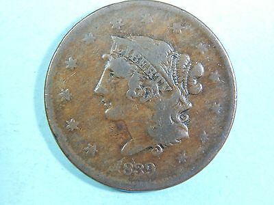 "1839 ""Booby Head"" Large Cent-N13, R2"