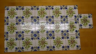 "Set 16 Antique or Vintage Blue Flower Tiles 5 1/8"" Very Good Condition Reclaimed"