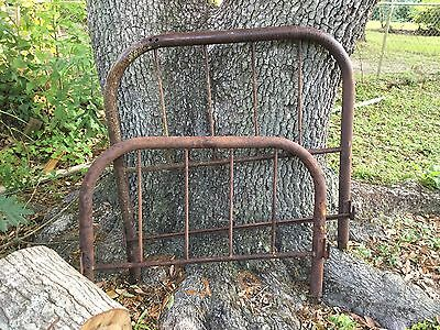 Antique Cast Iron Twin Size Bed Frame Heavy Rust Patina Repurpose Steampunk