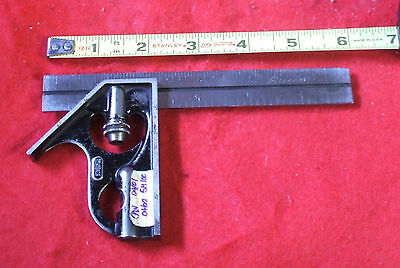 "Vintage STARRETT JUNIOR COMBINATION SQUARE WITH 6"" RULE Free Shipping"