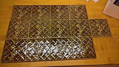 Set 13 Antique or Vintage Leaf & Tendril Tiles British VG Condition Reclaimed