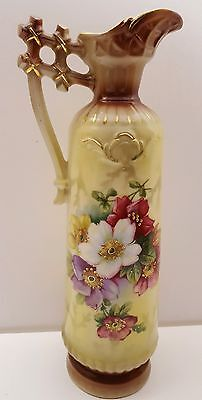 Vintage Antique Handpainted Floral Flowers Tall Pitcher Gold Gilt