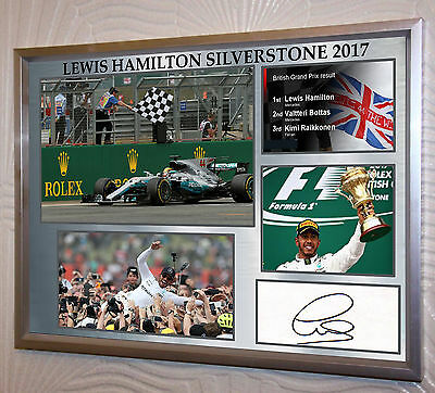 "Lewis Hamilton Silverstone 2017 Framed Canvas Print Signed ""Great Gift/Souvenir"""