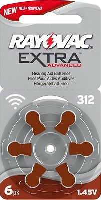 Rayovac 312 Hearing Aid Batteries x60 cells *EXPIRES 2021*
