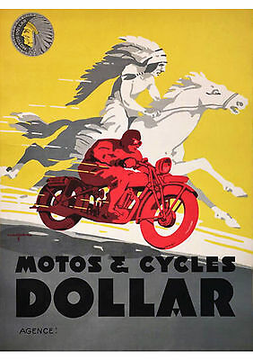 1930's Dollar motorcycles poster