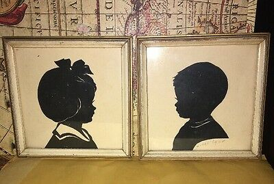 """Vintage Pair of Silhouette Pictures Gentleman and Lady 4 1/4"""" x 5 1/4"""""""