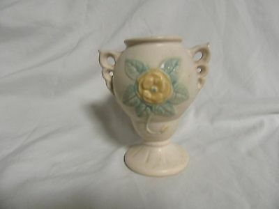 VTG Original Hull Pottery Open Rose/Camellia Double Handled Vase 131-4 1/4""