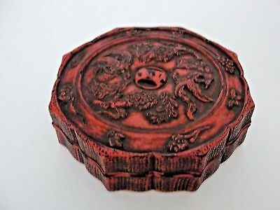 Rare Antique Chinese Old Cinnabar Lacquer Covered Box. Signed