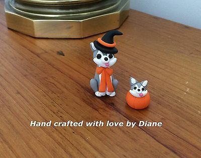 Miniature Hand Crafted Polymer Clay Siberian Husky Halloween Witch & Baby