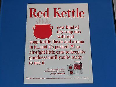 "Vintage Campbells Red Kettle Dry Soup MixMagazine Print Ad Advertising 14"" X 11"""
