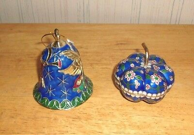 Lot of 2 Cloisonne Enameled trinket box and bell, glass and metal