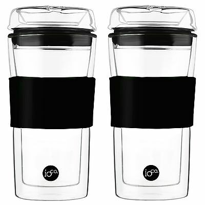 2 x cups - 20% off 2nd hardened Glass ioco Coffee tea eco travel cup keep mug 2