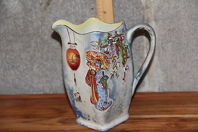 Antique Pitcher Hand Painted Gold England Crane Flowers RARE English Chinoiserie