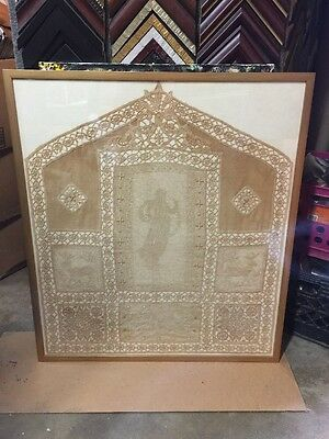 Antique Tapestry / Embroidered With Figure And Elk And Decoration Framed Glass