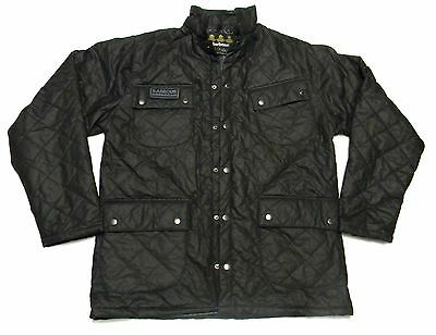 NEW - BARBOUR INTERNATIONAL Men's QUILTED Black WAX-COTTON JACKET Size: L