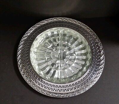 Silverplate Pierced Serving Dish with Divided Glass Insert by Wm Rogers