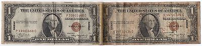 2 WWII $1 1935-A Hawaii Short Snorter Emergency Issue Notes