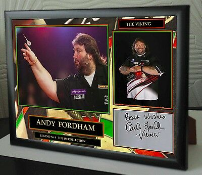 """Andy Fordham Darts Framed Canvas Print Signed """"Great Gift"""""""
