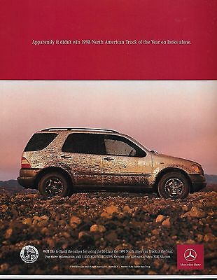 1998 Mercedes Benz M-Class North American Truck of the Year Photo Print Ad